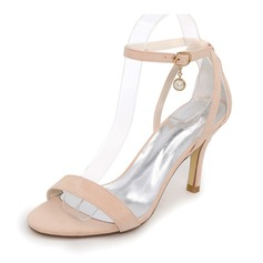Women's Suede Stiletto Heel Pumps Sandals With Imitation Pearl