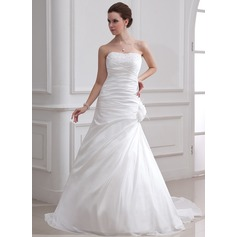A-Line/Princess Sweetheart Court Train Taffeta Wedding Dress With Ruffle Beading Feather Flower(s)