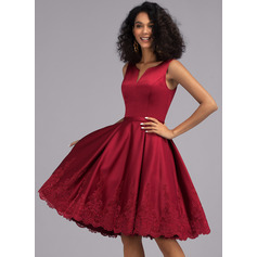 A-Line V-neck Knee-Length Satin Cocktail Dress With Appliques Lace