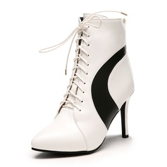 Women's Leatherette Stiletto Heel Boots Ankle Boots With Zipper Lace-up shoes
