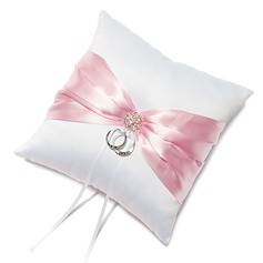 Pure Elegance Ring Pillow in Satin With Sash/Rhinestones