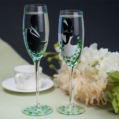 Bride and Groom Design Glass Toasting Flutes (Set Of 2)