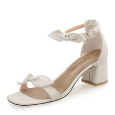 Women's PU Chunky Heel Sandals With Bowknot Buckle shoes (087173037)