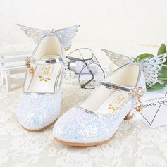 Jentas Lukket Tå Leather lav Heel Flate sko Flower Girl Shoes med Bowknot Spenne Glitrende Glitter