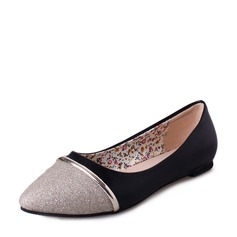 Women's Sparkling Glitter PU Flat Heel Flats Closed Toe With Split Joint shoes