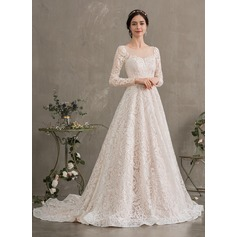 Ball-Gown/Princess Illusion Court Train Lace Wedding Dress