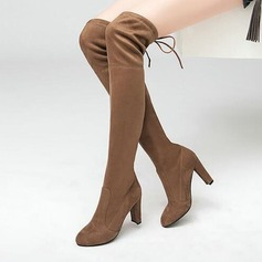 Women's Suede Stiletto Heel Pumps Boots Over The Knee Boots With Lace-up shoes