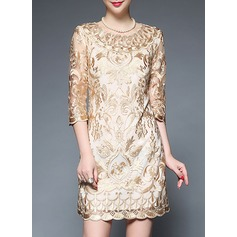 Polyester With Embroidery Above Knee Dress (199137184)