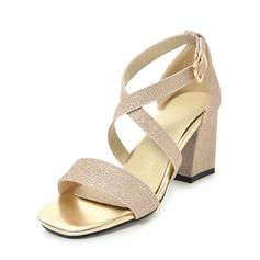 Frauen Funkelnde Glitzer Stämmiger Absatz Sandalen Absatzschuhe Peep Toe mit Schnalle Schuhe