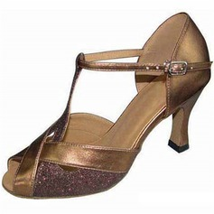 Women's Sparkling Glitter Heels Latin With Buckle Dance Shoes