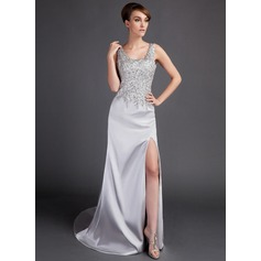 A-Line/Princess Scoop Neck Court Train Charmeuse Prom Dress With Beading Split Front