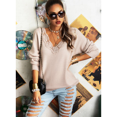 V-Neck Long Sleeves Solid Casual Pullovers (1002265194)