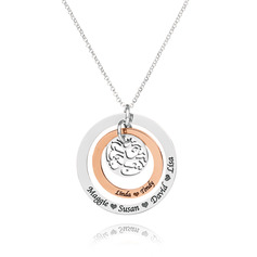 Custom Sterling Silver Layered Two Engraved Necklace Circle Necklace With Family Tree - Birthday Gifts Mother's Day Gifts