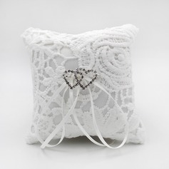 Chic Ring Pillow in Satin With Rhinestones/Loving Hearts