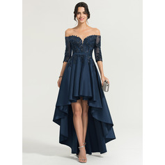 A-Linie/Princess-Linie Off-the-Schulter Asymmetrisch Satin Abendkleid mit Pailletten (017167716)