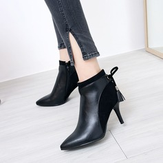 Women's PU Stiletto Heel Pumps Closed Toe Ankle Boots With Lace-up Split Joint shoes (088145048)