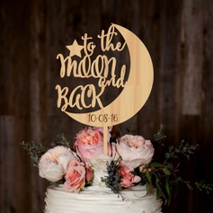 Personalized to the Moon & Back Wood Cake Topper