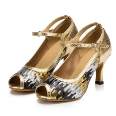 Women's Leatherette Heels Sandals Latin With Sequin Dance Shoes