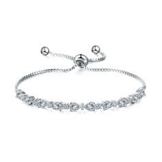 Anti-oxidation Statement Bridal Bracelets Bridesmaid Bracelets With Cubic Zirconia -