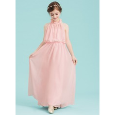 A-Line/Princess High Neck Floor-Length Chiffon Junior Bridesmaid Dress With Cascading Ruffles