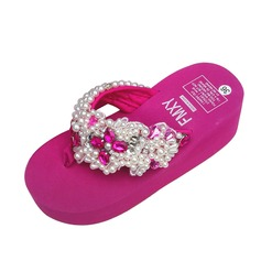 Women's Cloth Wedge Heel Sandals Flip-Flops With Rhinestone shoes (087089801)