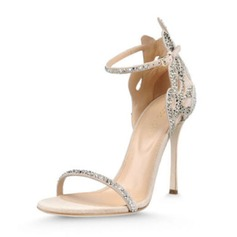 Women's Leatherette Stiletto Heel Peep Toe Pumps Sandals With Crystal