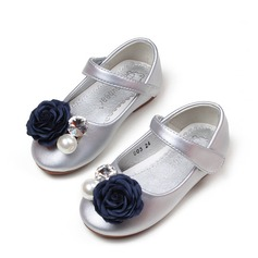 Girl's Microfiber Leather Flat Heel Round Toe Flats With Beading Velcro Flower