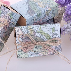 Around the World Map Favor Box /w natural-twine