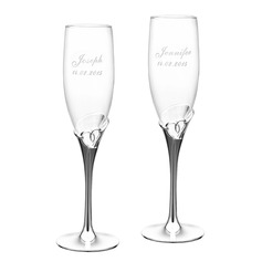 Personalized Heart Cut-out Crystal Toasting Flutes  (118053071)