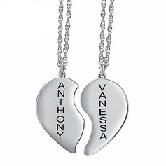 Personalized Couples' Eternal Love 925 Sterling Silver With Heart Name/Engraved/Bar Necklaces For Bride/For Couple