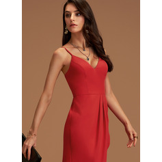 A-Line V-neck Asymmetrical Stretch Crepe Homecoming Dress