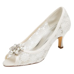 Women's Silk Like Satin Stiletto Heel Peep Toe Pumps With Flower (047096515)
