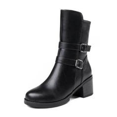 Women's Leatherette Chunky Heel Boots Mid-Calf Boots With Buckle shoes