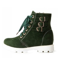 Women's Suede Wedge Heel Boots Ankle Boots With Lace-up shoes