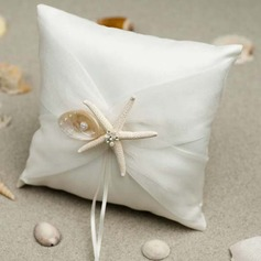 Lovely Ring Pillow in Satin/Cotton With Starfish and Seashell