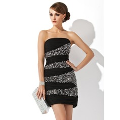 Sheath/Column Strapless Short/Mini Chiffon Cocktail Dress With Ruffle Beading Sequins