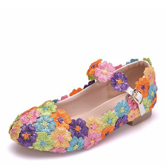 Girl's Round Toe Closed Toe Mary Jane Leatherette Flats With Buckle Flower Applique