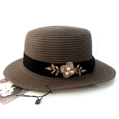 Ladies' Beautiful Rattan Straw/Alloy With Imitation Pearls Straw Hat