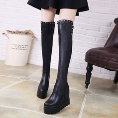 Women's PU Wedge Heel Boots Over The Knee Boots With Rivet shoes