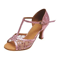 Women's Leatherette Heels Sandals Latin With T-Strap Sequin Dance Shoes