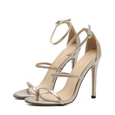 Women's Leatherette Stiletto Heel Peep Toe Sandals Beach Wedding Shoes