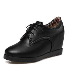 Kvinnor PU Kilklack Kilar Stövlar Boots med Bandage skor