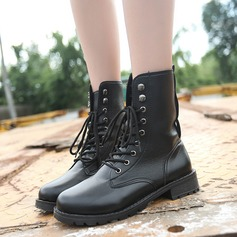 Women's PU Flat Heel Boots Mid-Calf Boots With Lace-up shoes