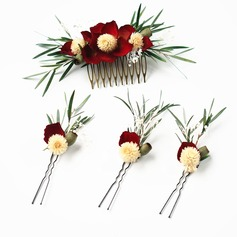 Ladies Special Silk Flower Combs & Barrettes (Set of 4)