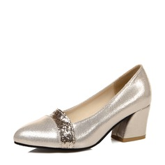 Women's Sparkling Glitter Chunky Heel Pumps Closed Toe With Sparkling Glitter shoes