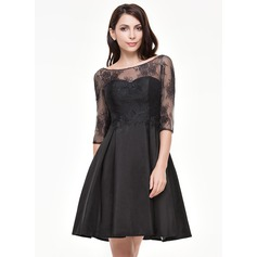 A-Line/Princess Scoop Neck Knee-Length Taffeta Lace Cocktail Dress