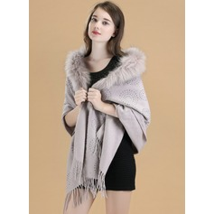 Solid Color Cold weather Wool/Fox Hair Poncho (204172484)