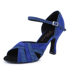 Women's Sparkling Glitter Nubuck Heels Latin Dance Shoes