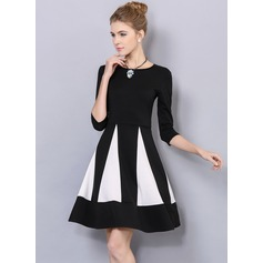 Polyester/Cotton With Stitching Above Knee Dress (199103603)
