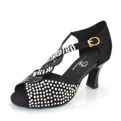 Women's Leatherette Suede Heels Sandals Latin With Rhinestone Dance Shoes